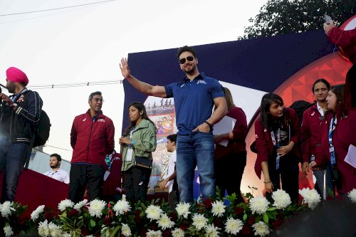 Tiger Shroff at Mumbai Marathon./Pic by News Helpline
