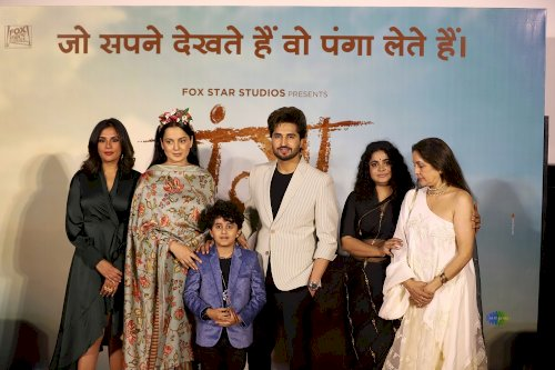 Star cast of film Panga at press conference./Pic by News Helpline