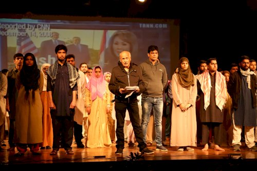 Filmmaker Mahesh Bhatt performing famous play �The Last Salute� at LPU campus.