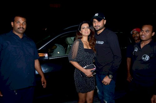 Harbhajan Singh and Geeta Basra spotted at Juhu.