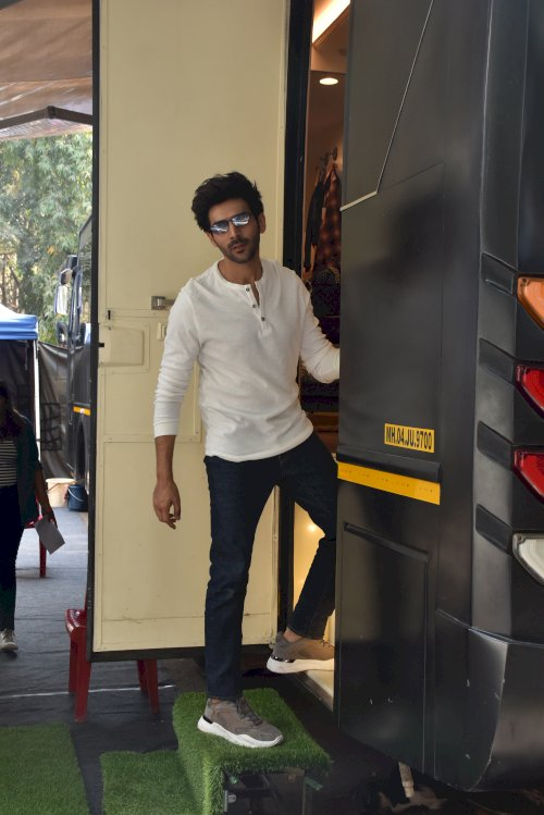 Bollywood actors Kartik Aaryan spotted at Film City in Mumbai./ Pics by News helpline